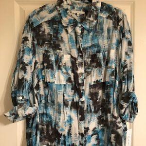 NWT Foxcroft watercolor print button down shirt 18